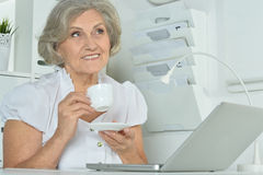 Elderly woman working on laptop Royalty Free Stock Photography