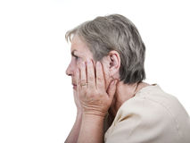 Elderly woman worried Stock Photo