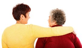 Elderly woman and young caregiver. Photo of elderly women and young caregiver Royalty Free Stock Photo