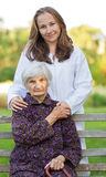 Elderly woman with the young doctor Stock Photos