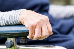 Elderly womans hand Stock Photo