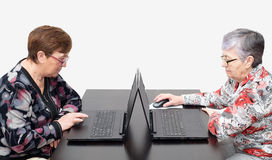 Elderly women with laptops Royalty Free Stock Image