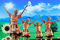 Elderly women show the taiwan gaoshan nationality dance Stock Image