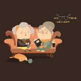 Elderly women sitting on couch Stock Photography