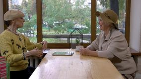 Elderly women and a tablet. Cafe table near window. Pride and bragging stock video footage
