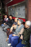 Elders. Be shot at shanghai, they take a seat ,enjoy warm and sunshine day Stock Images