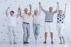 Elders holding hands. Excited elders holding hands in the air and welcoming new year together Stock Photos