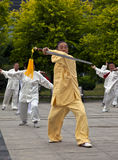 Elders Playing Taiji Sword Royalty Free Stock Photography