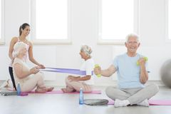 Elders on rehabilitation. Happy elders exercising together on rehabilitation at the gym room Stock Photo
