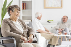 Elders spending time together. At nursing home Stock Images