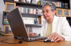Eldery Frau auf einem Laptop Stockfoto