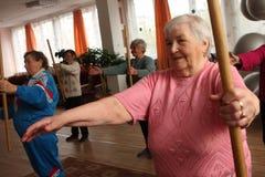eldery gimnastyk kije Zdjęcie Royalty Free