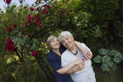 Eldery, gray woman with her daughter outdoors Stock Photography