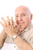 Eldery man with fingers cut off in accident. Vertical isolated on a white background Stock Photography