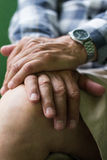 Eldery man hands. Senior man with hands clasped Royalty Free Stock Photos