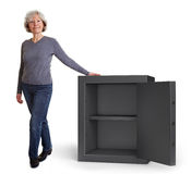 Eldery woman with empty vault Stock Image