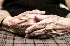 Eldery woman hands. Grandmother with clasped hands Stock Photo