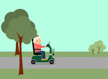 Eldery woman on the road Royalty Free Stock Images