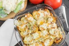 Eldfast form från potatisen med gräddfilsås, grönsaker och gree Arkivfoton