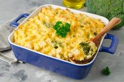 Eldfast form med pasta, höna och broccoli Fotografering för Bildbyråer