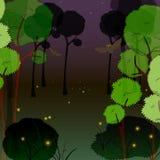 Eldflugor i skogen på natten Arkivfoto