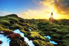 Free Eldhraun Sunrise Silhouette Stock Image - 56569781