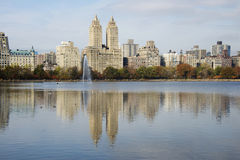 The Eldorado building, New York. Close-up of the Eldorado Building on the Upper West Side of New York City, seen across Jacqueline Kennedy Onassis Reservoir in stock photo