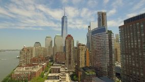 Flying around Lower Manhattan with new world trade centre building in the middle stock video footage