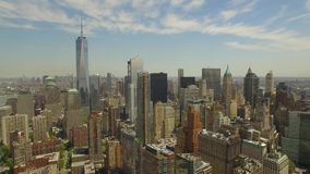 Flying around Lower Manhattan with new world trade centre building in the middle stock footage