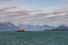Eldred rock Lightouse built in 1905 on the Sullivan Island, Lynn canal . Haines Alaska stock images