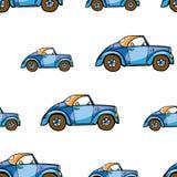 滑稽的逗人喜爱的手拉的孩子玩具运输 在白色背景的婴孩明亮的动画片汽车传染媒介无缝的样式 套被隔绝的ele 免版税库存照片