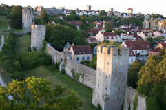 Ele citywall de Visby do local do patrimônio mundial do Unesco em Gotland no sueco Fotografia de Stock Royalty Free