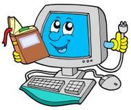 ELE computador com livro Imagens de Stock Royalty Free