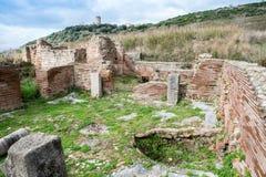 Elea Velia i romerska tider, är en forntida stad av Magna Grecia Royaltyfri Foto
