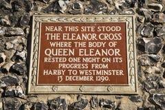 The Eleanor Cross Plaque in St. Albans Stock Photos