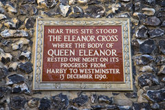 The Eleanor Cross Plaque in St. Albans Royalty Free Stock Photo
