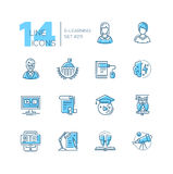 ELearning- coloured modern single line icons set Stock Photos