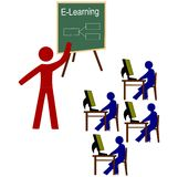 E Learning. Concept of e learning in a classroom Stock Illustration