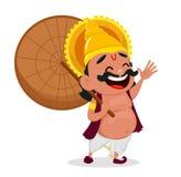 Elebration KingOnam c Mahabali tenant le parapluie, personnage de dessin animé gai illustration libre de droits