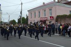ELEC, LIPETSK/ROSJA, MAJ, - 09, 2017: parada militarna orkiestra Obraz Stock