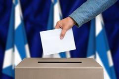 Elección en Escocia - votando en la urna Foto de archivo