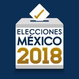 Elecciones Мексика 2018, мексиканськие избрания 2018 испанских языков отправляет СМС, урна для избирательных бюллетеней голосован Стоковые Фото