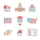 Elecciones, campaña y muestras de votación fijadas ilustración del vector