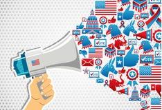 Elecciones de los E.E.U.U.: promoción del mensaje de la política Fotografía de archivo