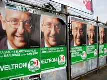 Elecciones italianas: Veltroni adentro Imágenes de archivo libres de regalías