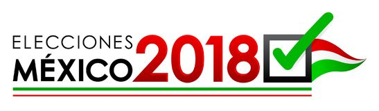 Elecciones México 2018, eleições de México 2018 espanhóis text, bandeira mexicana da eleição presidencial ilustração stock