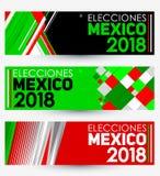 Elecciones México 2018, eleições de México 2018 espanhóis text, cenografia moderna mexicana da bandeira da eleição presidencial ilustração do vetor