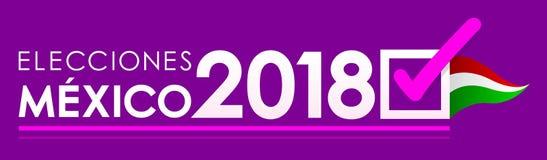 Elecciones México 2018, eleições de México 2018 espanhóis text, projeto mexicano da bandeira da eleição presidencial ilustração royalty free
