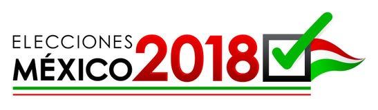 Elecciones Meksyk 2018, Meksyk wybory 2018 hiszpańskich tekstów, Meksykański wybór prezydenci sztandar Fotografia Stock