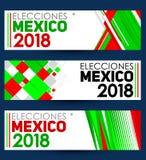 Elecciones Meksyk 2018, Meksyk wybory 2018 hiszpańskich tekstów, Meksykańskiego wybór prezydenci nowożytny sztandar Obraz Royalty Free